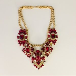 Gold Red Opal Rhinestone Statement necklace